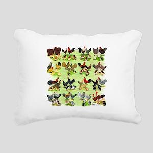 16 Chicken Families Rectangular Canvas Pillow