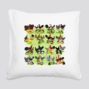 16 Chicken Families Square Canvas Pillow