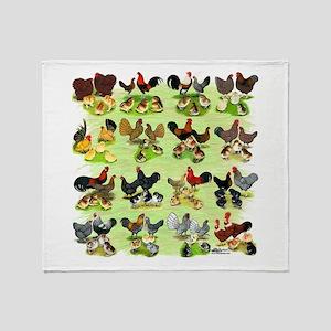 16 Chicken Families Throw Blanket
