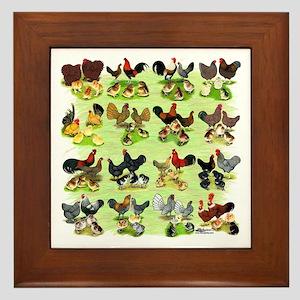 16 Chicken Families Framed Tile