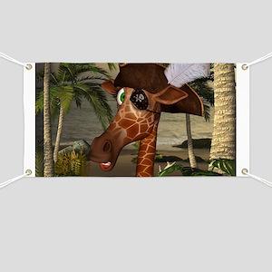 Funny giraffe as pirate on a island Banner