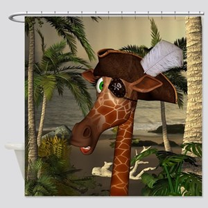 Funny giraffe as pirate on a island Shower Curtain