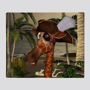 Funny giraffe as pirate on a island Throw Blanket