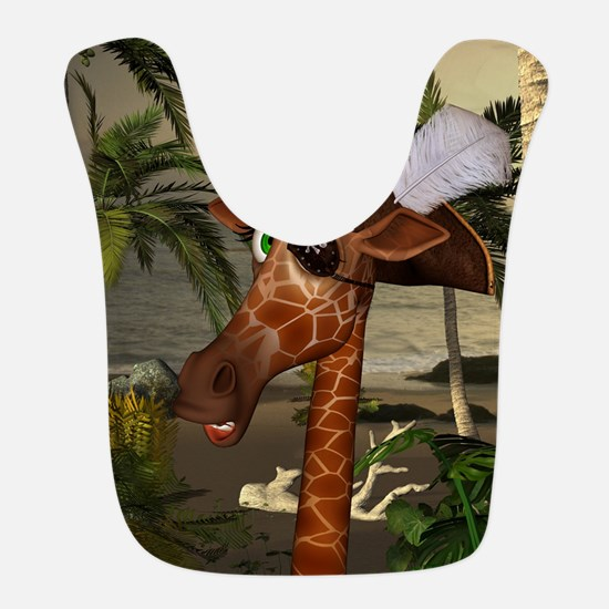 Funny giraffe as pirate on a island Polyester Baby