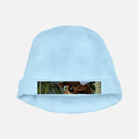Funny giraffe as pirate on a island Baby Hat