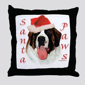 Santa Paws Saint Bernard Throw Pillow