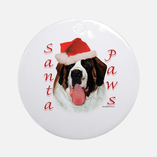 Santa Paws Saint Bernard Ornament (Round)