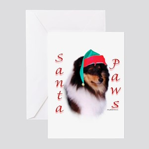 Santa Paws Sheltie Greeting Cards (Pk of 10)