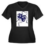 DWP Blue Logo Women's Plus Size V-Neck Dark T-Shir
