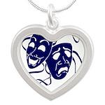 DWP Blue Logo Silver Heart Necklace