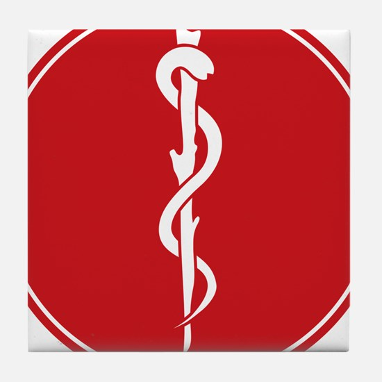 Rod of Asclepius Seal Tile Coaster