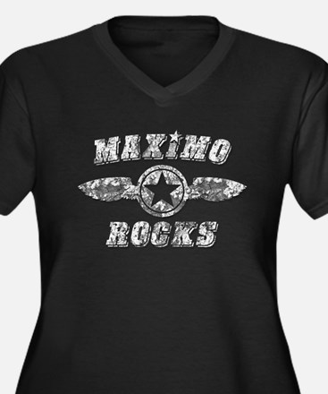 MAXIMO ROCKS Women's Plus Size V-Neck Dark T-Shirt