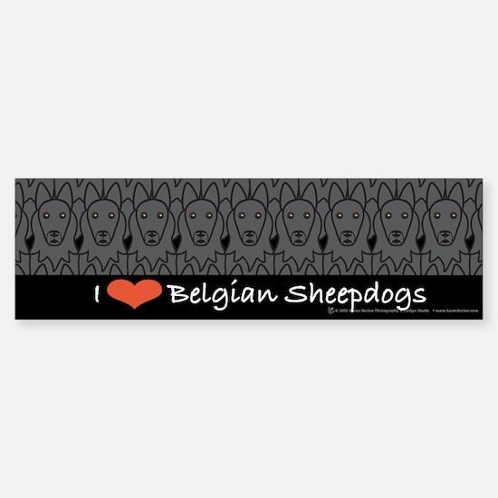 I Love Belgian Sheepdogs Bumper Bumper Bumper Sticker