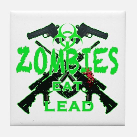 Zombies eat lead 3 Tile Coaster