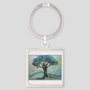tree ! tree of life, art! Square Keychain