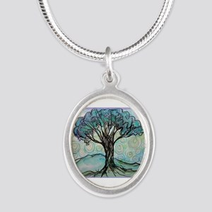 tree ! tree of life, art! Silver Oval Necklace