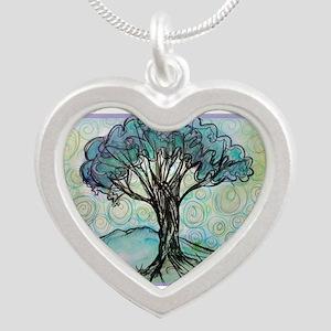 tree ! tree of life, art! Silver Heart Necklace