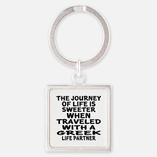 Traveled With Greek Life Partner Square Keychain