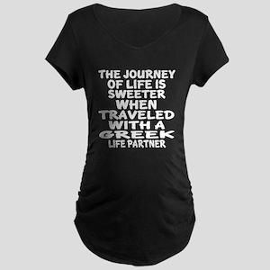 Traveled With Greek Life Pa Maternity Dark T-Shirt