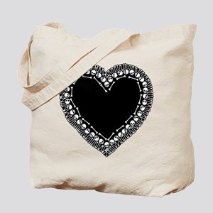 Pretty Skull Heart Tote Bag