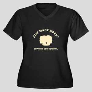 How Many More Women's Plus Size V-Neck Dark T-Shir