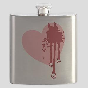 Skull Drips Heart Flask