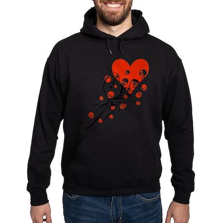 Heart With Skulls And Swirls Hoodie (dark)