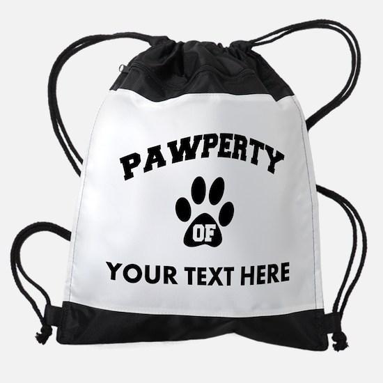Personalized Dog Pawperty Drawstring Bag