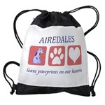 FIN-airedale-terrier-pawprints Drawstring Bag