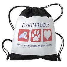 FIN-eskimo-dogs-pawprints Drawstring Bag