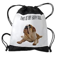 Happy Face Bulldog Drawstring Bag