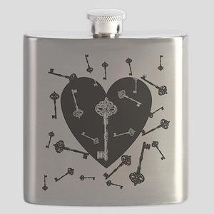 Heart And Keys Flask