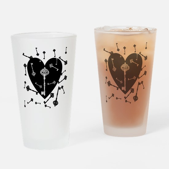Heart And Keys Drinking Glass