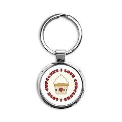 I Love Cupcakes Round Keychain