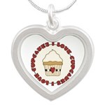 I Love Cupcakes Silver Heart Necklace