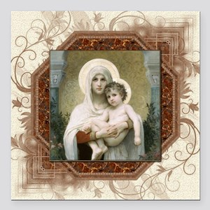 """Madonna of the Roses Square Car Magnet 3"""" x 3"""""""