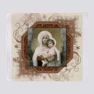 Madonna of the Roses Throw Blanket