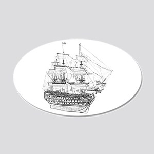 Classic Wooden Ship Sailboat 20x12 Oval Wall Decal