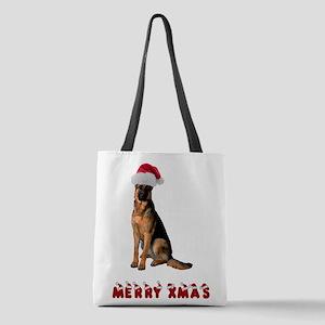 German Shepherd Christmas Polyester Tote Bag
