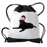 FIN-santa-blacklab Drawstring Bag