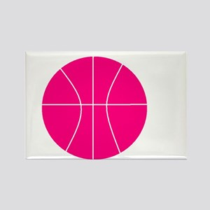 pink basketball Rectangle Magnet