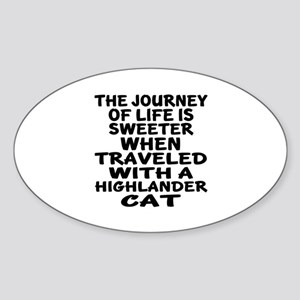 Traveled With Highlander Cat Sticker (Oval)