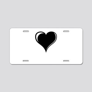 Black and White Heart Aluminum License Plate