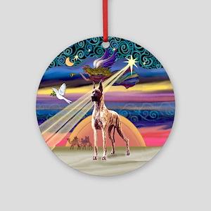 Xmas Star & Brindle Great Dane Ornament (Round)