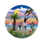 Great Dane in the Palms (Dsty) Ornament (Round)