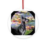 Monet's Lilies & Blue Great Dane Ornament (Rou