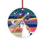 Xmas Star & Harlequin GDane Ornament (Round)