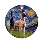 Starry Night Brindle Great Dane Ornament (Round)