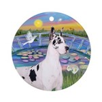 Harlequin in Lilies by Jean Ornament (Round)