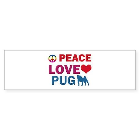 Peace Love Pug Sticker (Bumper 50 pk)